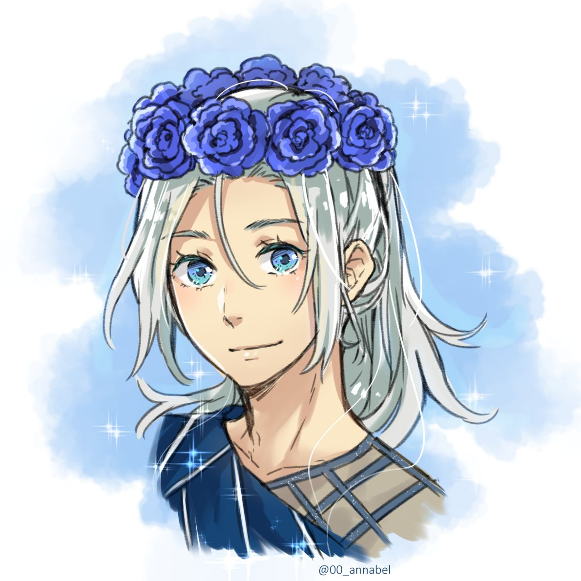 Annabel younger flower crown Victor cause he is freaking