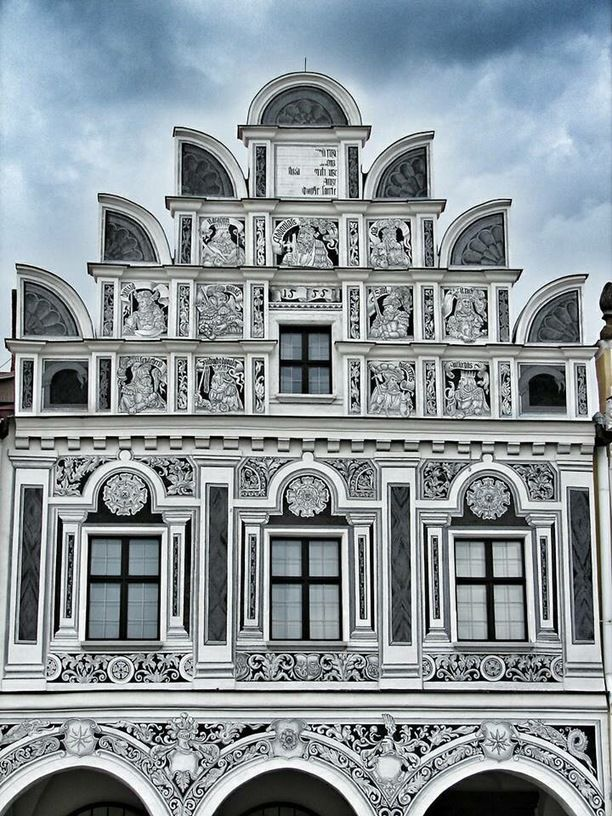 """Telč, Telč, Czech Republic — by Sharrie Shaw. Another house with beautiful facade. This is house no. 61. """"In 1532 this house was bought by Michael, a baker and..."""