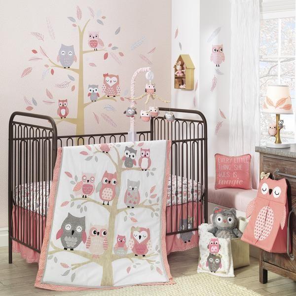 PINK Baby GIRL 3PC  NURSER BABY COT SET INCLUDE BUMPER OWL BIRD