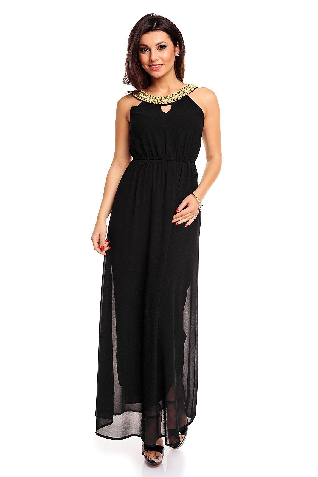 robe longue de soir e chic et tendance robe de soir e noire tm fe019 toufamode gnader. Black Bedroom Furniture Sets. Home Design Ideas