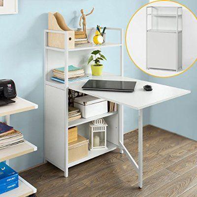 SoBuy® Mesa multimedia con puertas con varios estantes y compartimentos, mesa de ordenador, mesa plegable, mesa de cocina, mesa de comedor, FWT12-W, ES