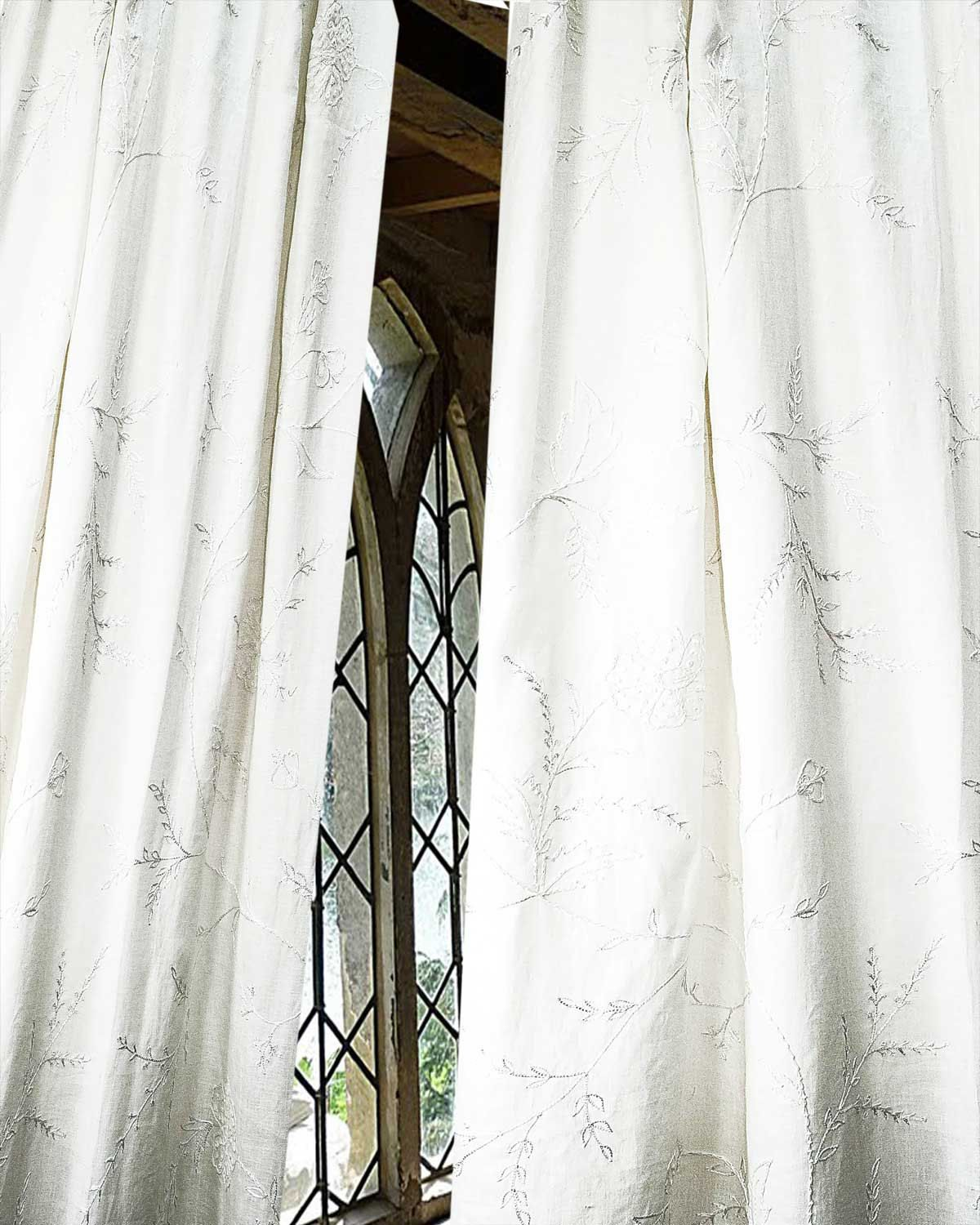 White Organic Heavy Linen Embroidered Living Room Window Lined Back Tabs Curtains Panels Drapes Each