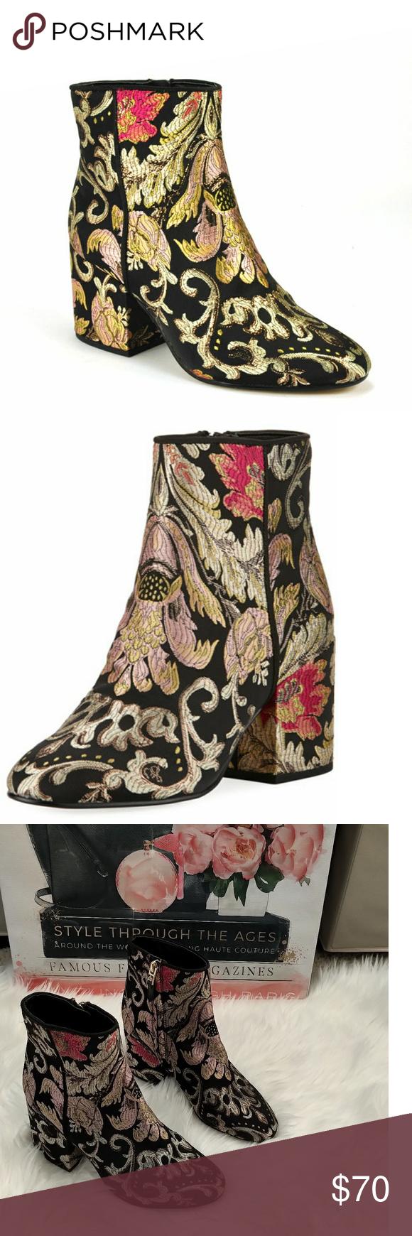 9a6cc1f2fa82 Sam Edelman Taye Metallic Jacquard Ankle Boots Sam Edelman bootie in  metallic floral jacquard. 2
