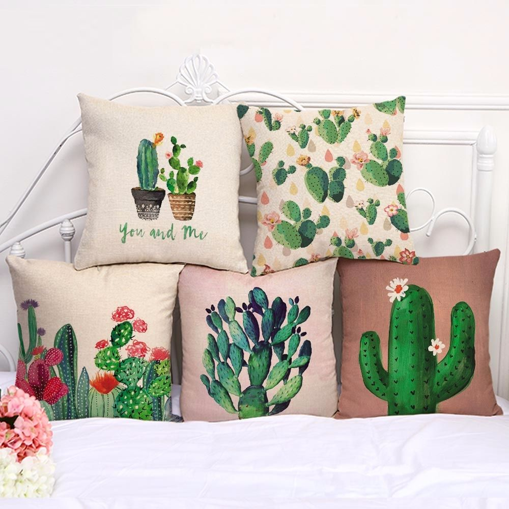 Lovely Cactus Printed Linen Cushion Covers Cushions On Sofa Pillows Cactus Pillow