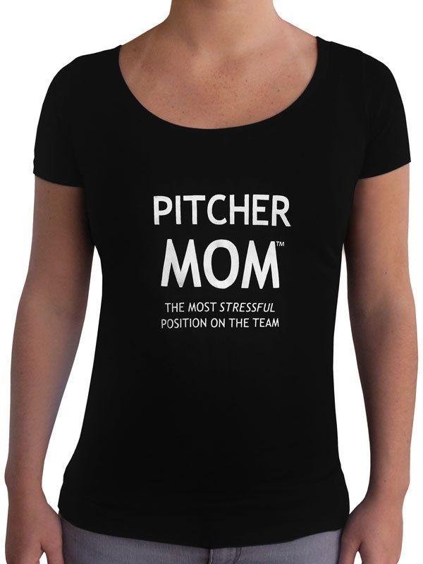 Women's Pitcher Mom T-Shirt - Slim Fit Scoop | T shirts ...