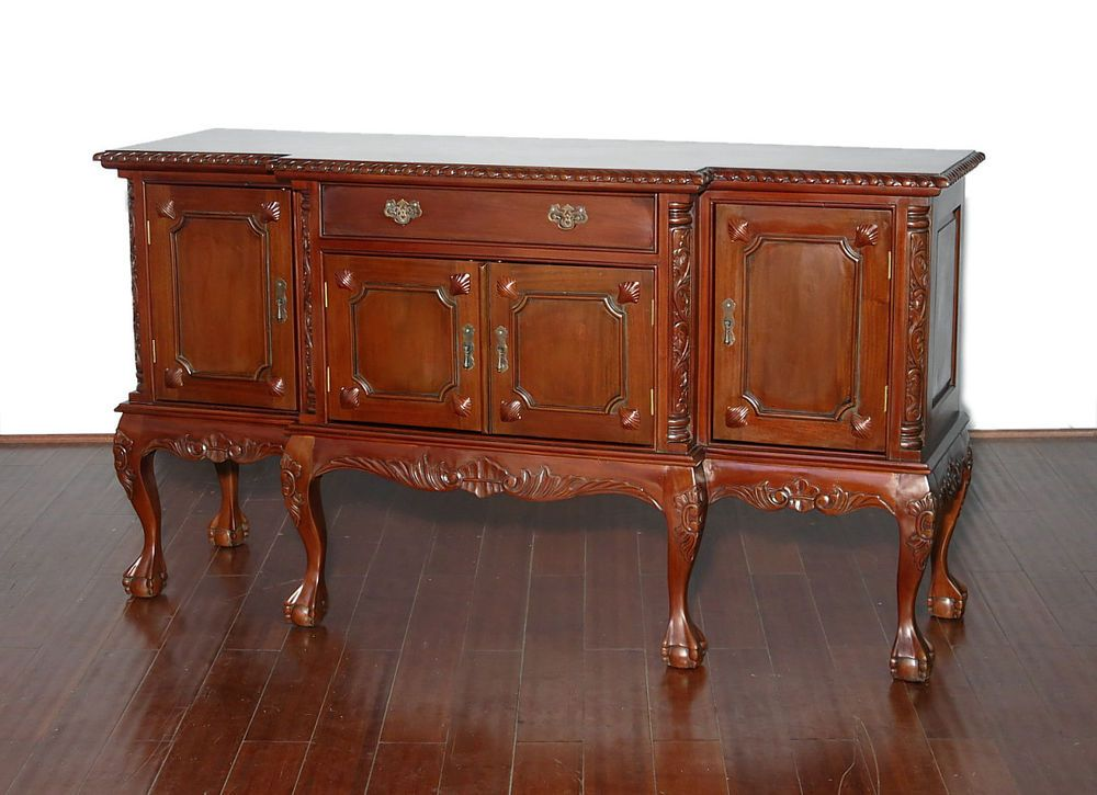 Vintage Solid Mahogany Chippendale Buffet Sideboard Server W Claw