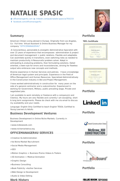 Business Assistant Sample Resume New Virtual Assistant & Business Manager Ceo Resume Example  How To .