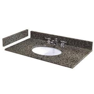 "Pegasus 315 31"" Granite Vanity Top With 4"" Backsplash And 8"" Widespread Holes an Quadro Granite Fixture Vanity Top Granite"
