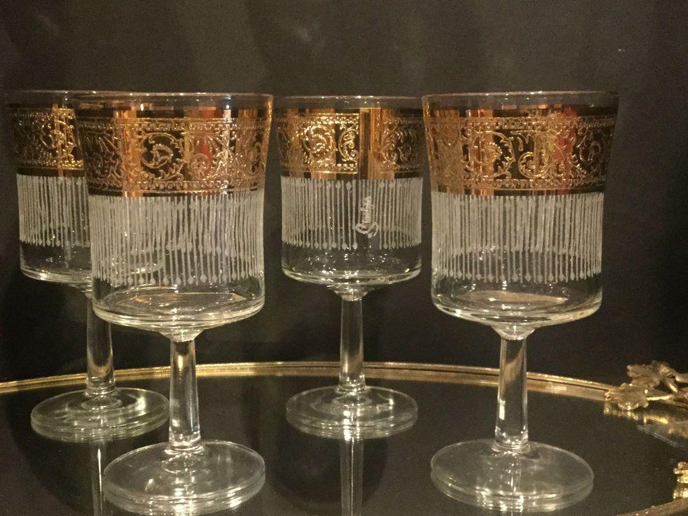 Attractive Four Culver Tyrol 22kt Gold Stem Glasses Mid Century Modern | EBay