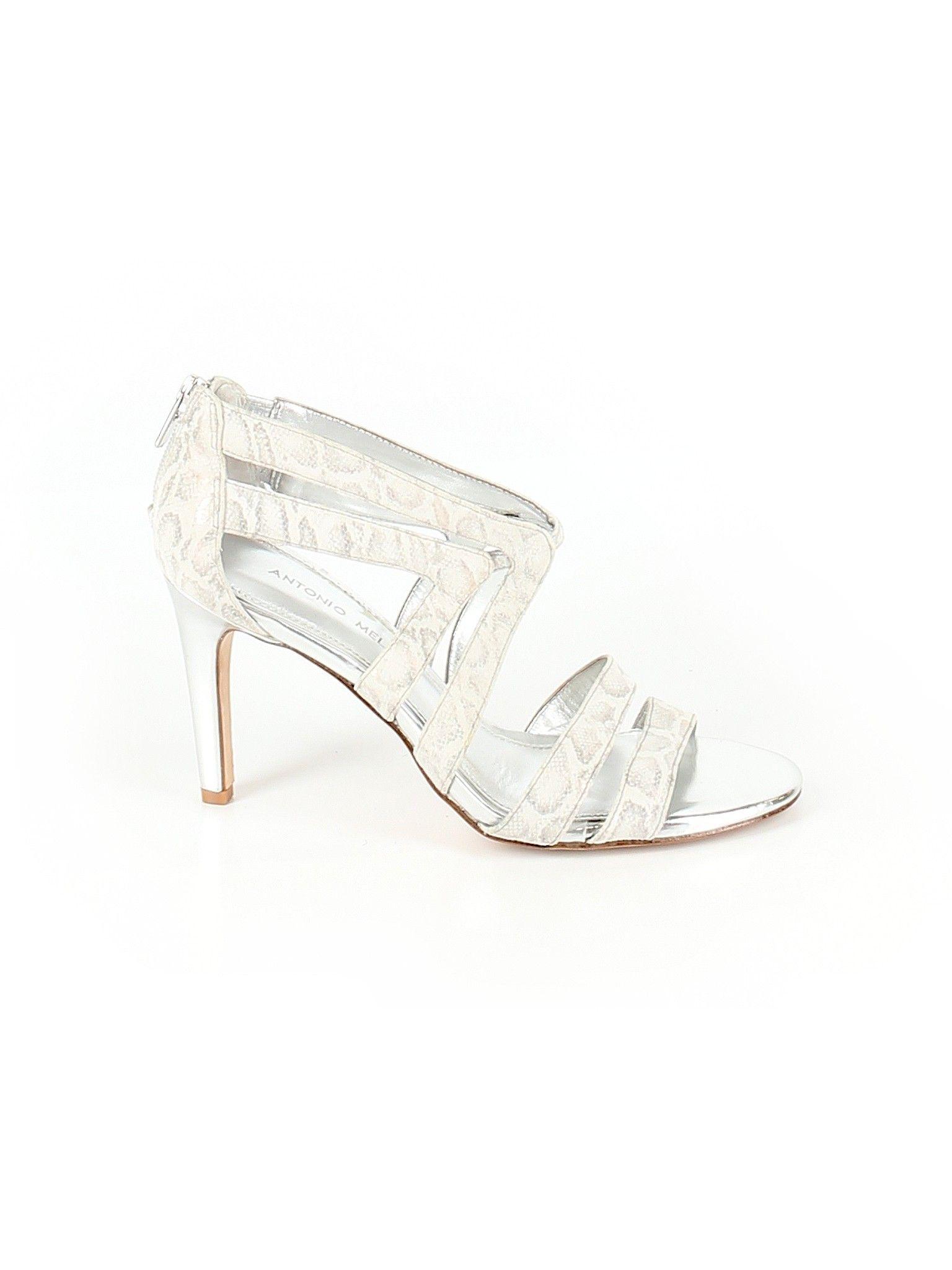 Antonio Melani Heel Silver Print Women S Shoes Size 8 1 2 Heels Second Hand Clothes Women Shoes