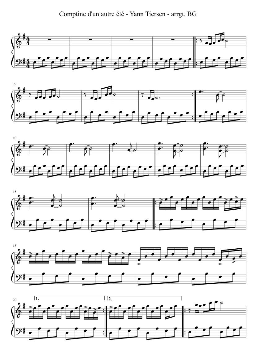 Comptine D Un Autre été Guitar Chords Comptine D Un Autre Ete Sheet Music For Piano Download Free In