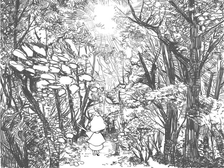 애니메이션 중, 어글리둑 숲 일러스트  drawing  Pinterest  그림
