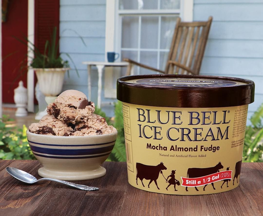 It's National Coffee Day! Add some indulgence to your next coffee break with our Mocha Almond Fudge Ice Cream. Available in stores beginning today.  Mocha Almond Fudge is a coffee ice cream accented with chopped roasted almonds and a rich chocolate sundae sauce.  #bluebell #mocha #almond #fudge #icecream #nationalcoffeeday