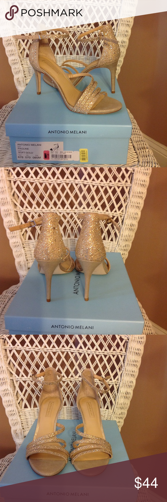 NWOT Antonio Melani soft metallic gold pumps. Antonio Melani shoes in a soft gold with rhinestones.3 3/4 heels added padding built into the shoes, perfect for all functions. Leather uppers & leather soles. Only worn in my home, so listing as NWT   Inventory#0023 ANTONIO MELANI Shoes Heels