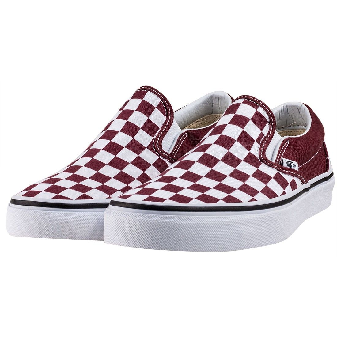 be41a37555 Vans Classic Womens Slip-on Checkerboard in Burgundy White in 2019 ...
