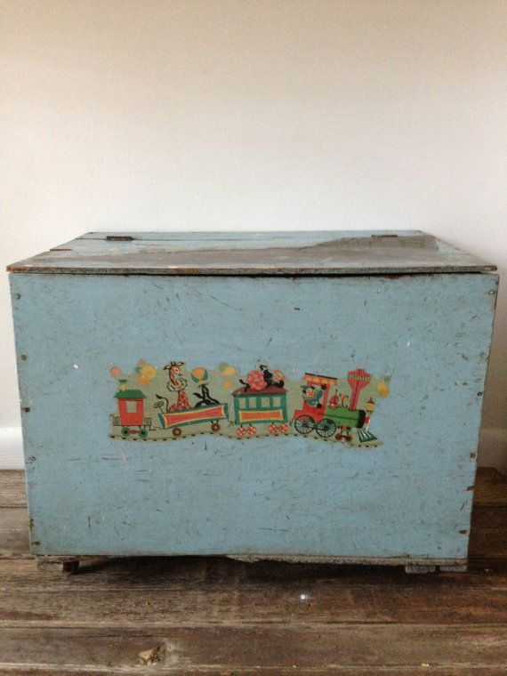 Vintage Toy Box Chest With Decals Vintage Toys Toy Boxes Box Chest