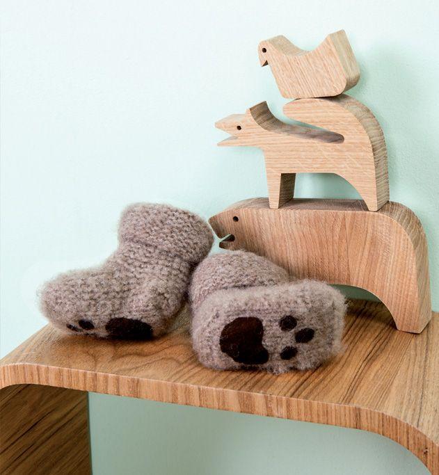 mod le chaussons pattes d 39 ours b b au point mousse facile. Black Bedroom Furniture Sets. Home Design Ideas
