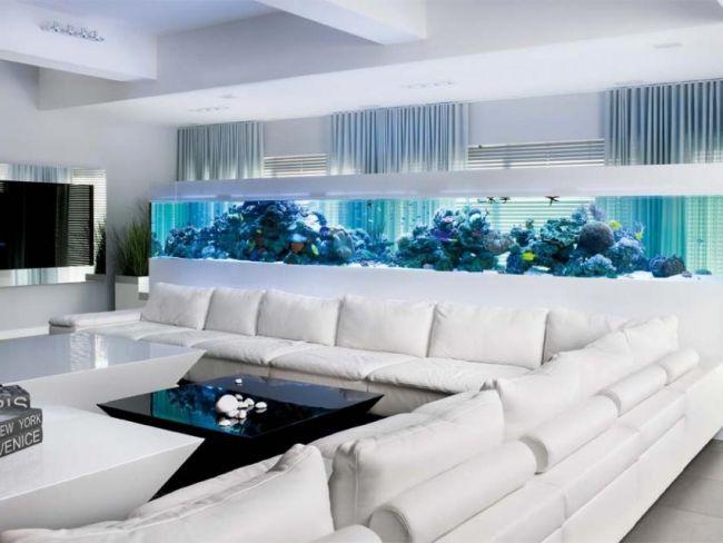 Uberlegen Aquarium Design Ideen Weißes Ecksofa Blaue Beleuchtung