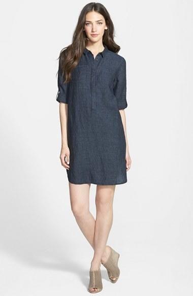 f79b30286fd Women s Eileen Fisher Classic Collar Organic Linen Shirtdress (Online Only)