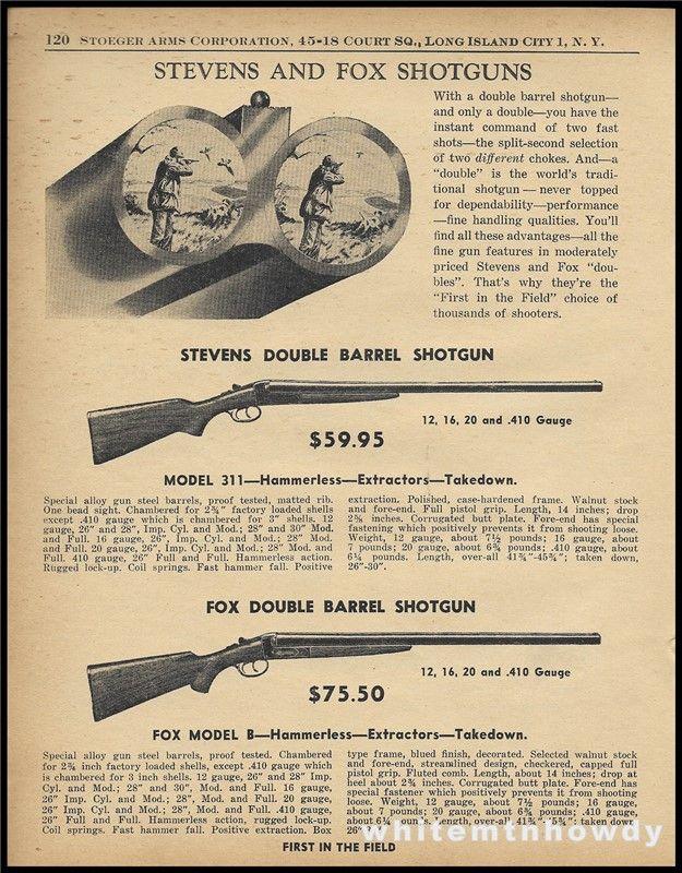 1955 STEVENS 311 FOX Model B Shotgun PRINT AD : Other