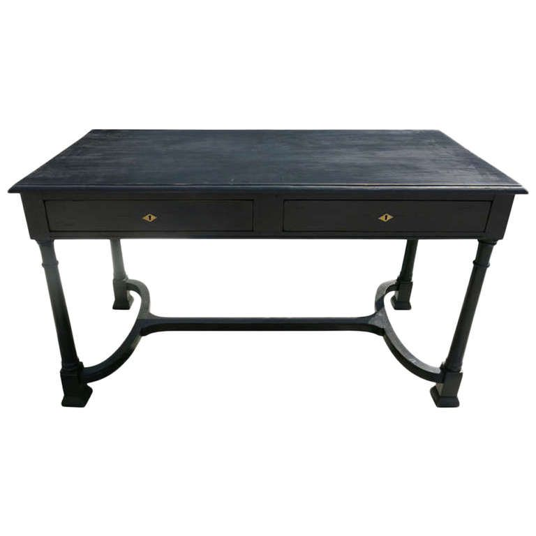 Black Writing Desk With Two Drawers 1 Writing Desk Black