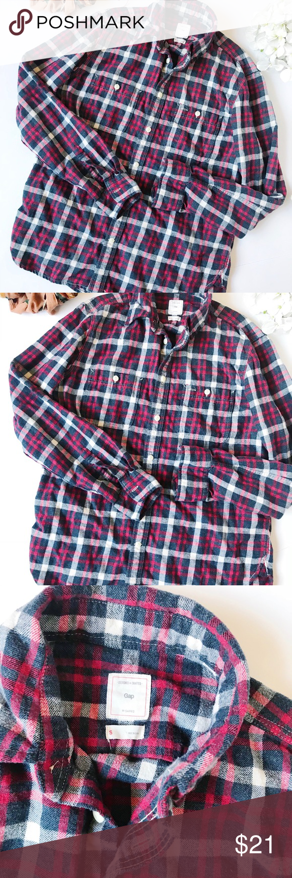 Purple flannel men  Gap Menus Red u Gray Flannel Plaid Shirt  Grey flannel Flannels