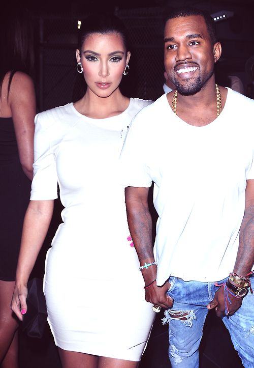 A little to the left Ye'  Let Kim through lol
