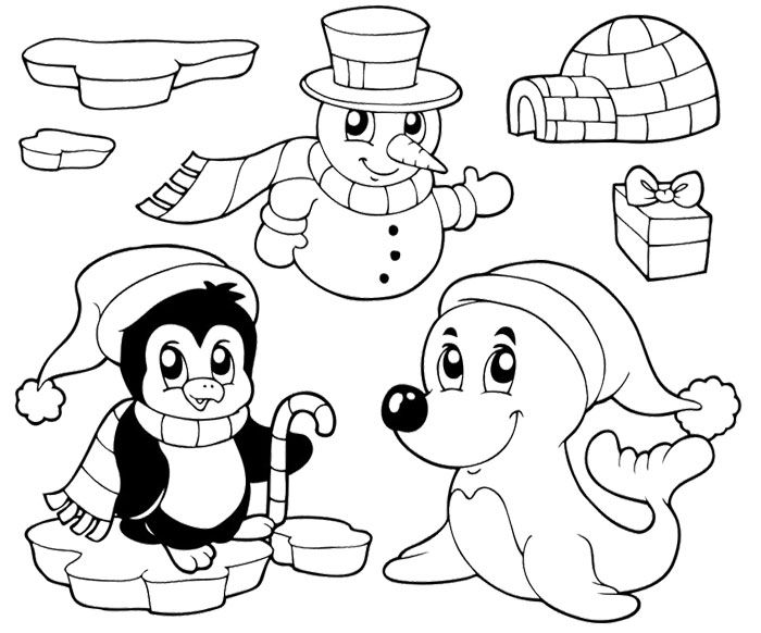 Penguin Coloring Pages  Penguin On Happy Christmas Coloring Page - new christmas coloring pages penguins