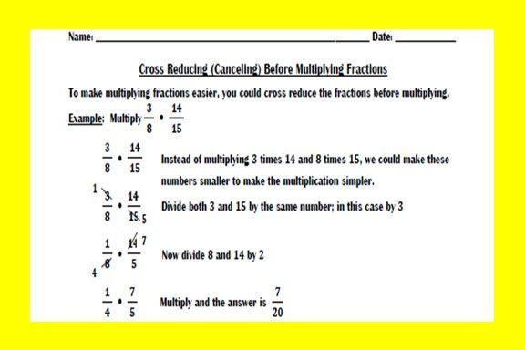 Cross Reducing Before Multiplying Fractions Worksheet  Worksheets