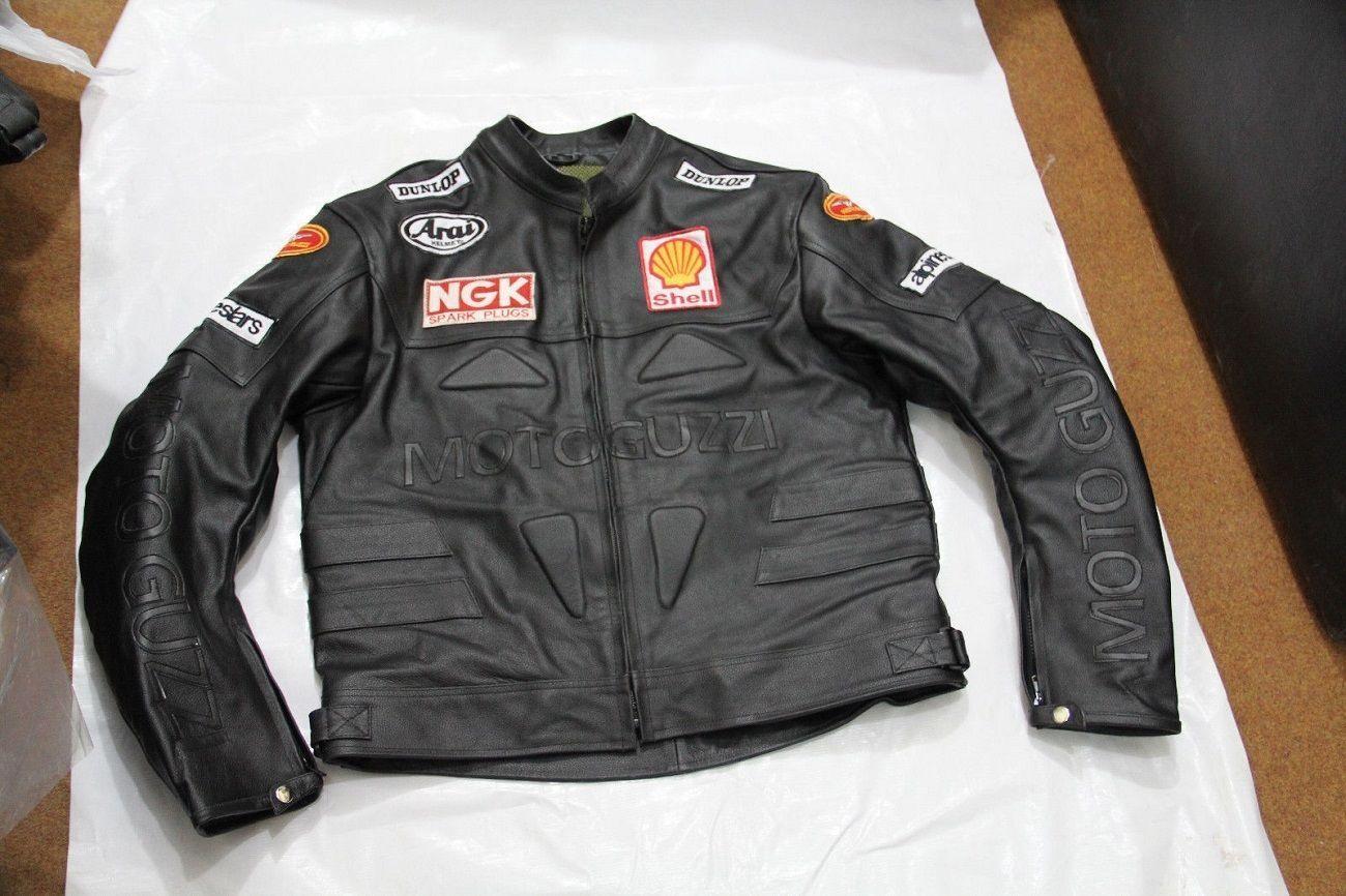 Mens Black Moto Guzzi Logo in White Motorcycle Racing
