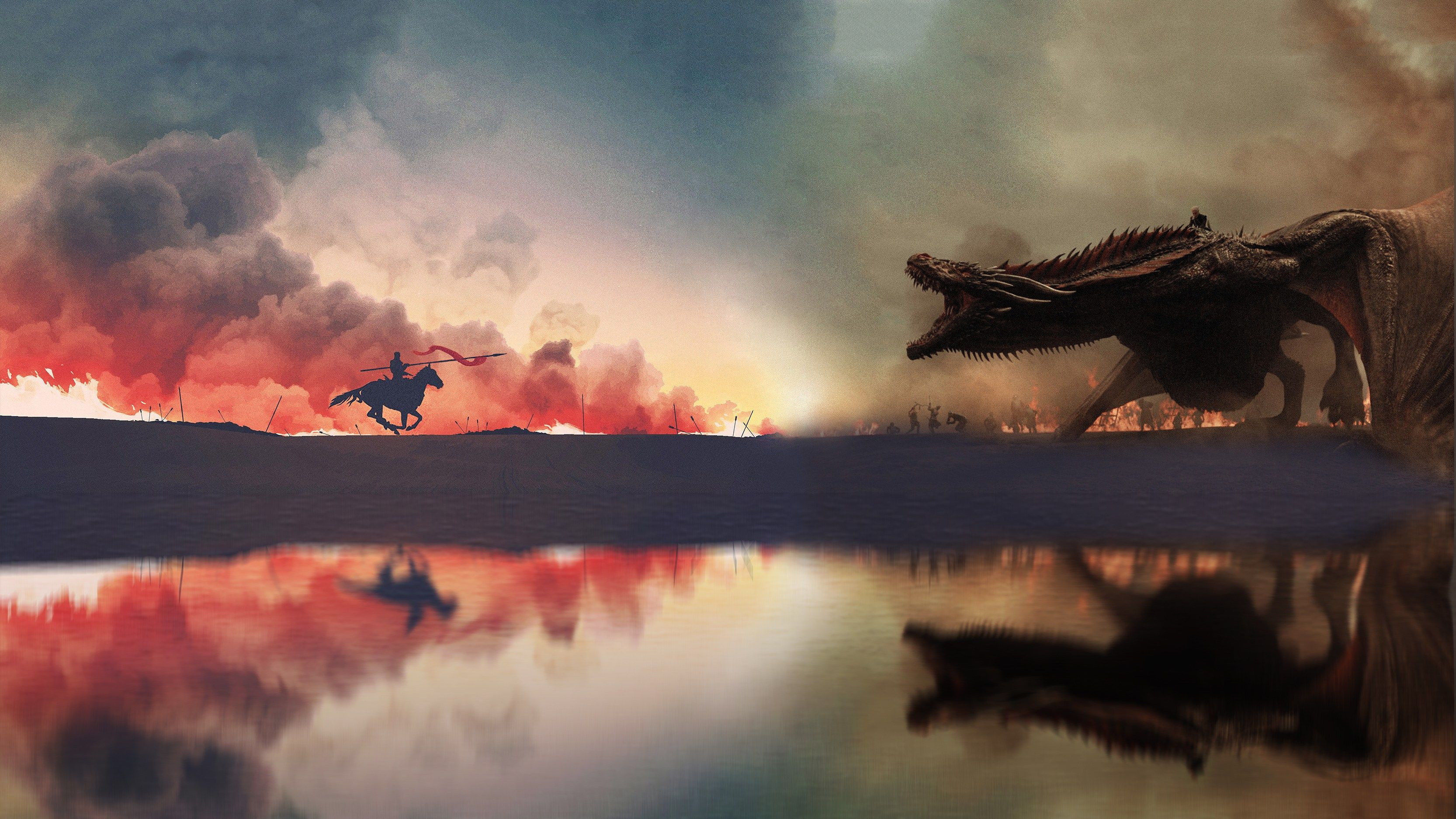 Download Game Of Thrones War Has Started Artwork 4k 6v Ultra Hd Wallpaper 2018 Hd Widesc Game Of Thrones Artwork Drogon Game Of Thrones Game Of Thrones Dragons