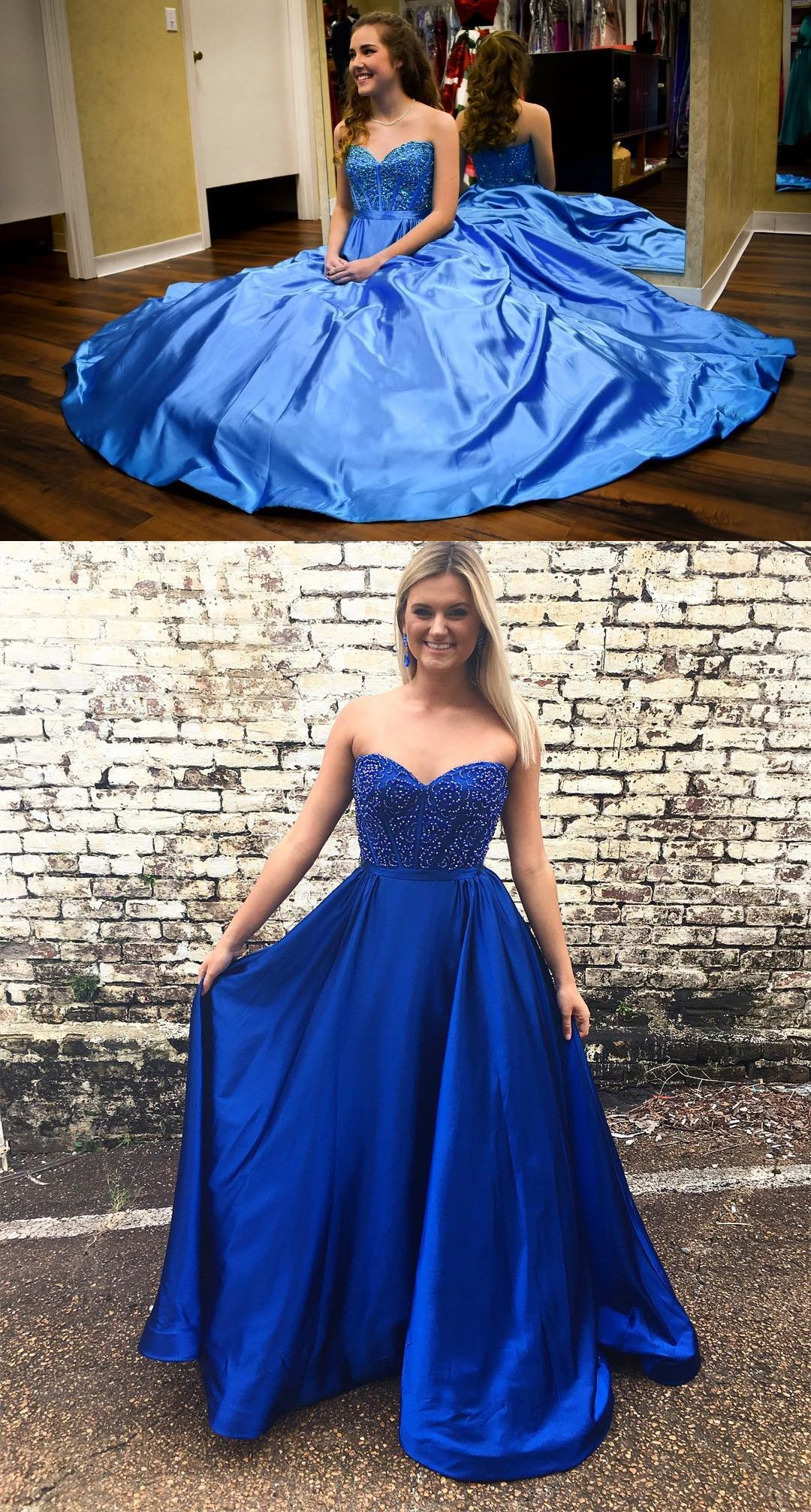 Sweetheart beads royal blue long prom dress from modsele fashion