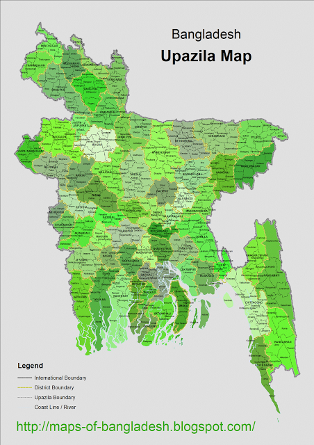 Upazila Map Of Bangladesh Map Bangladesh Asia Map