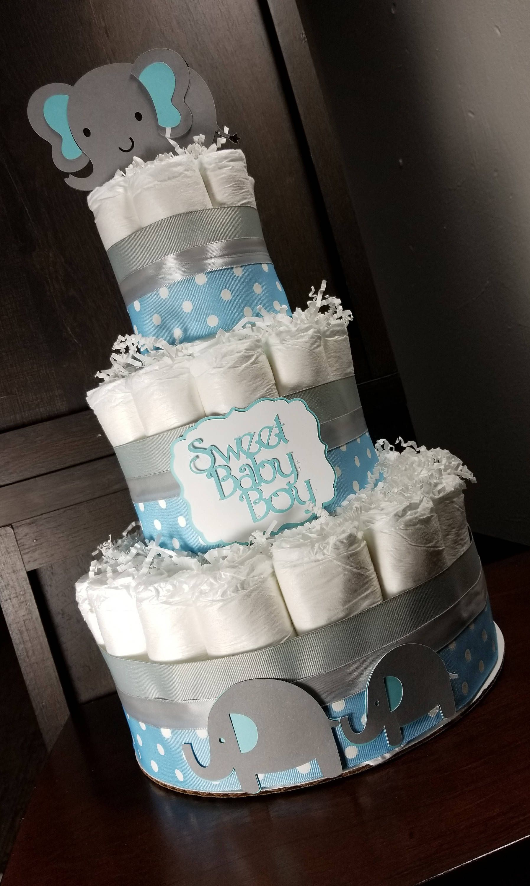 Elephant Diaper Cake For Baby Boy Blue And Silver Baby Boy