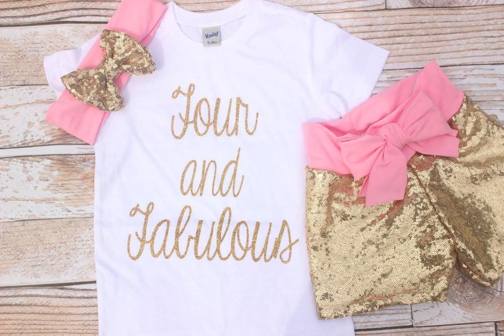 Toddler Girls 4th birthday outfit, gold sequin shirts, pink and gold birthday,