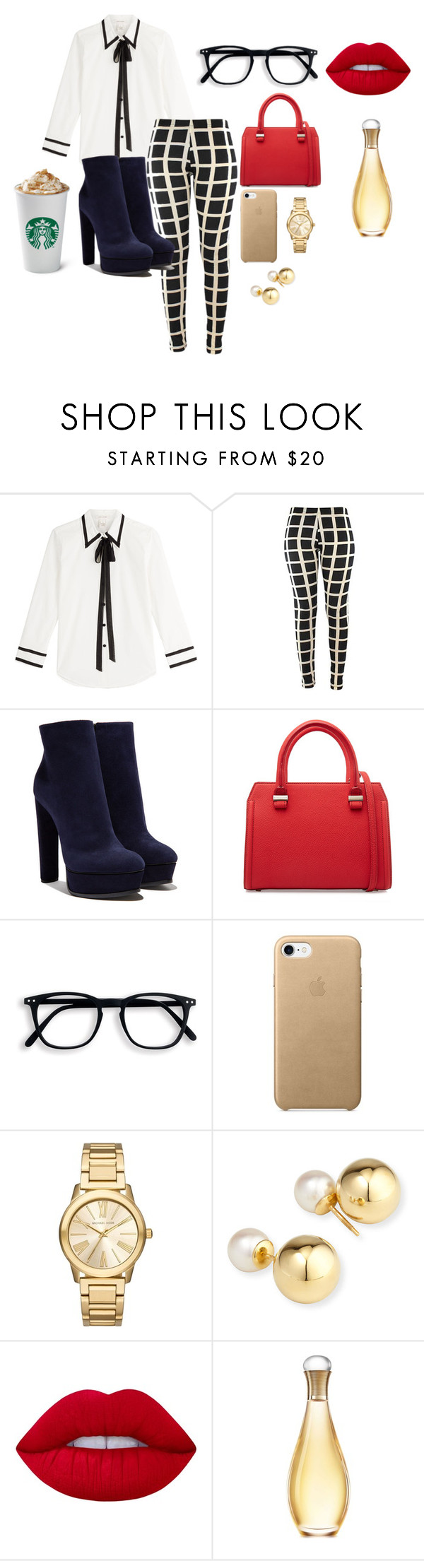 """""""ofichic"""" by anabelvalentina on Polyvore featuring moda, Marc Jacobs, Casadei, Victoria Beckham, Michael Kors, Yoko London, Lime Crime y Christian Dior"""