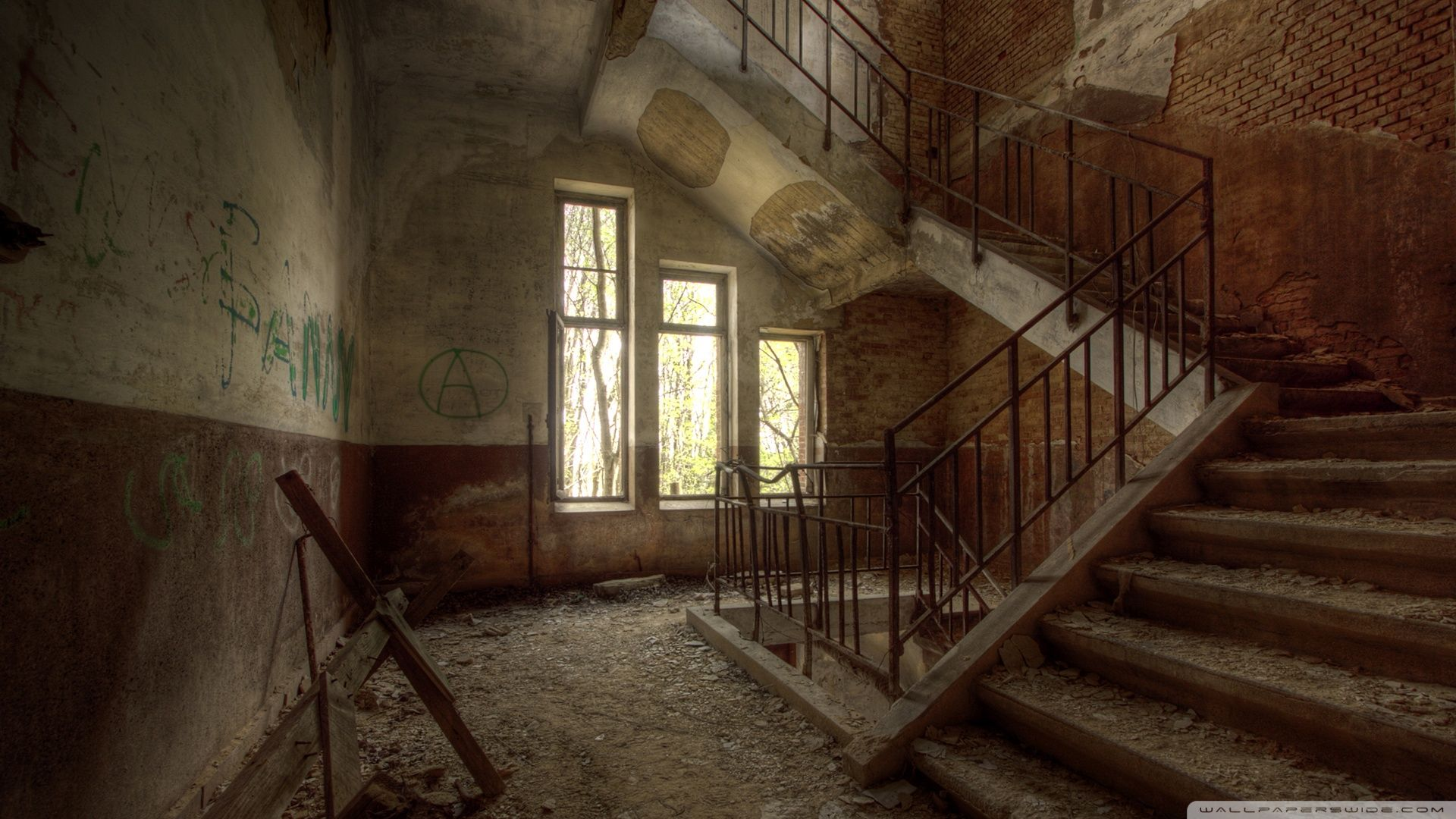 Abandoned building interior google search inspiration for Interior wallpaper