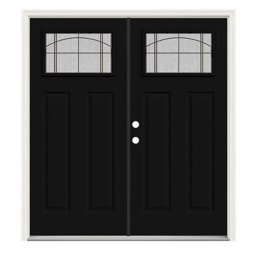 Shop Jeld Wen Craftsman Decorative Glass Right Hand Inswing Peppercorn Painted Steel Prehung Double Entry In 2020 Entry Doors Double Entry Doors Entry Doors With Glass