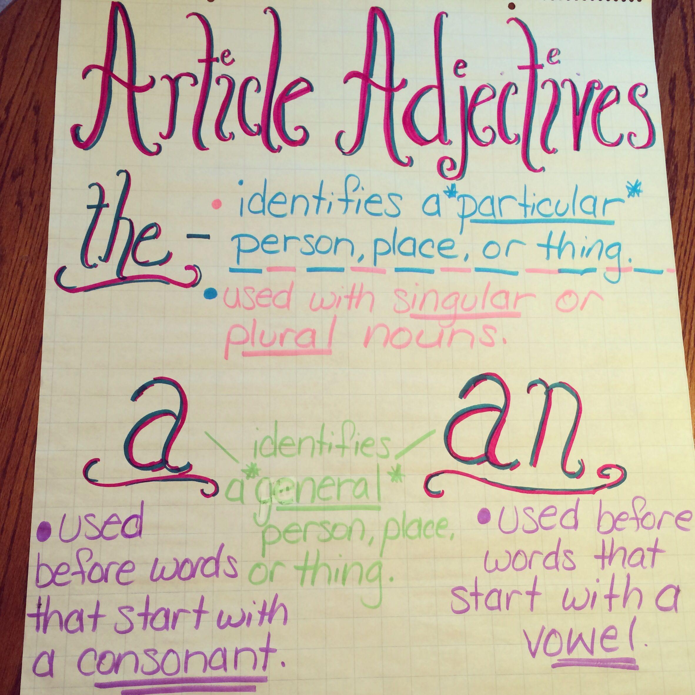 Article adjectives anchor chart adjective sentence grammar charts also rh pinterest