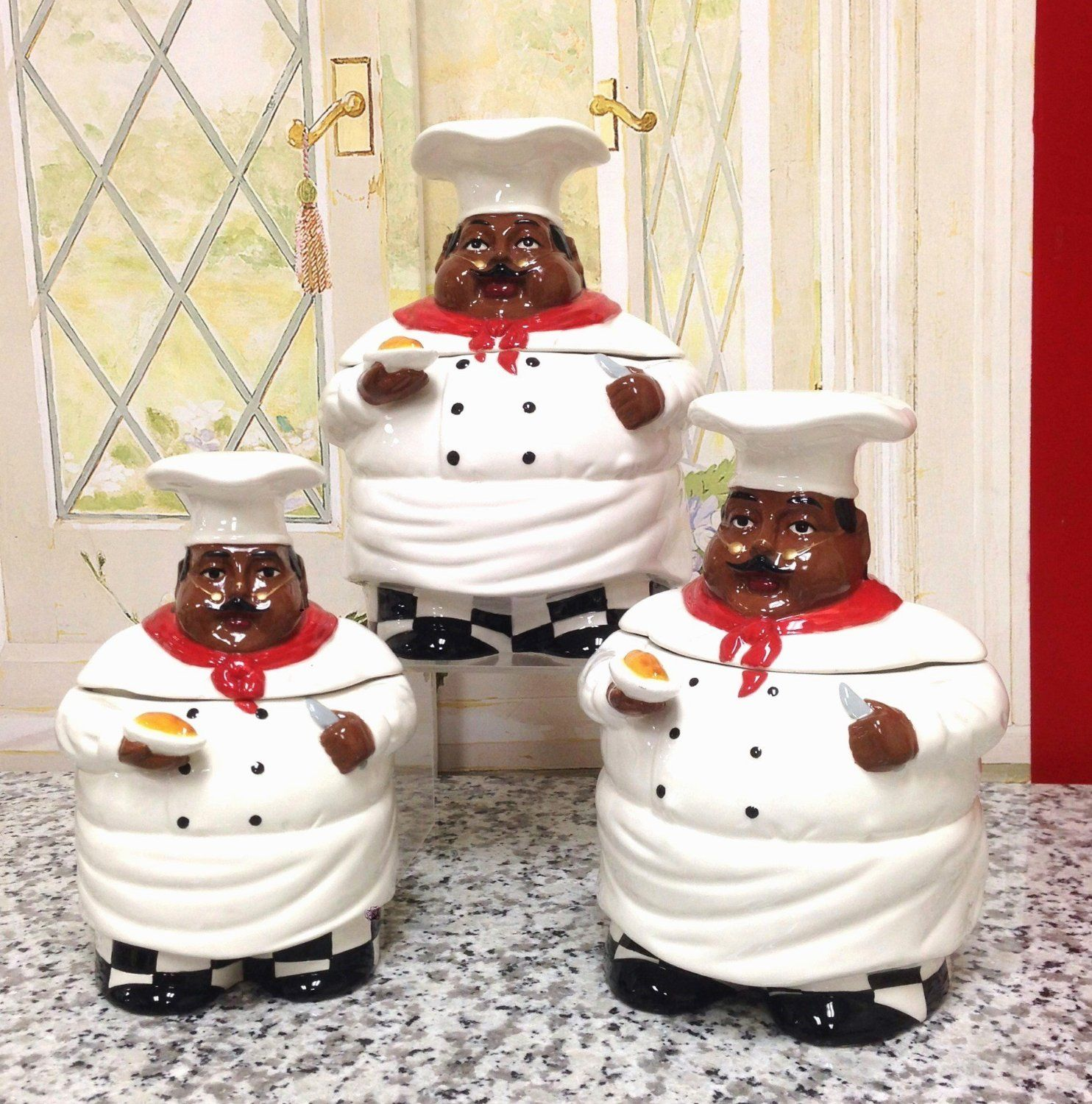 Amazon Com Kitchen Decor African American Guys Bistro Black Happy Chef 3pc Canister Set 89029 By Ack Kitchen St Chef Decorations Chef Kitchen Decor Decor