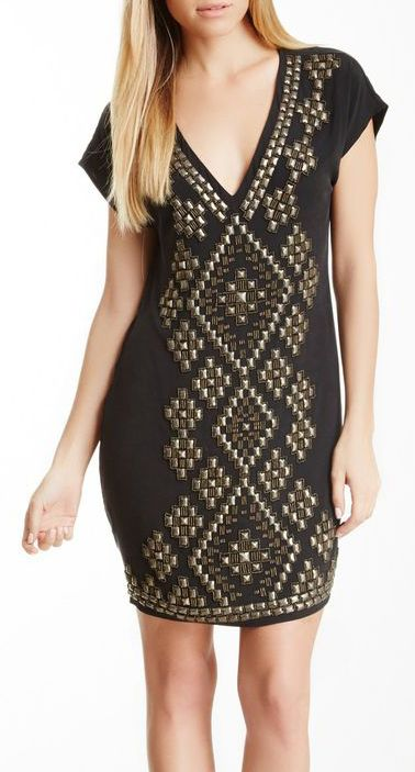 Hale Bob Studded V-Neck Silk Blend Dress