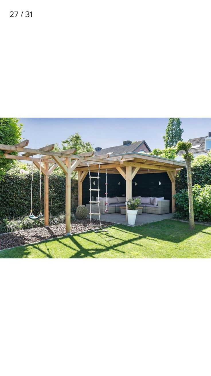 Photo of Beautiful covered garden seating area / cave and climbing frame for children …