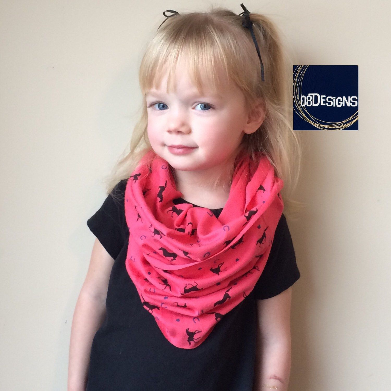 Horse Infinity Scarf - Girls Gift Toddler, Pink Coral 1 to ...