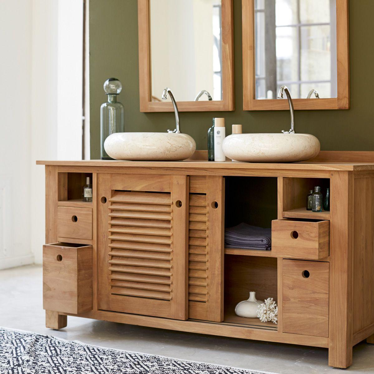 Badunterschrank aus Teak 145 Coline | Waschtisch, Waschbecken und Bäder