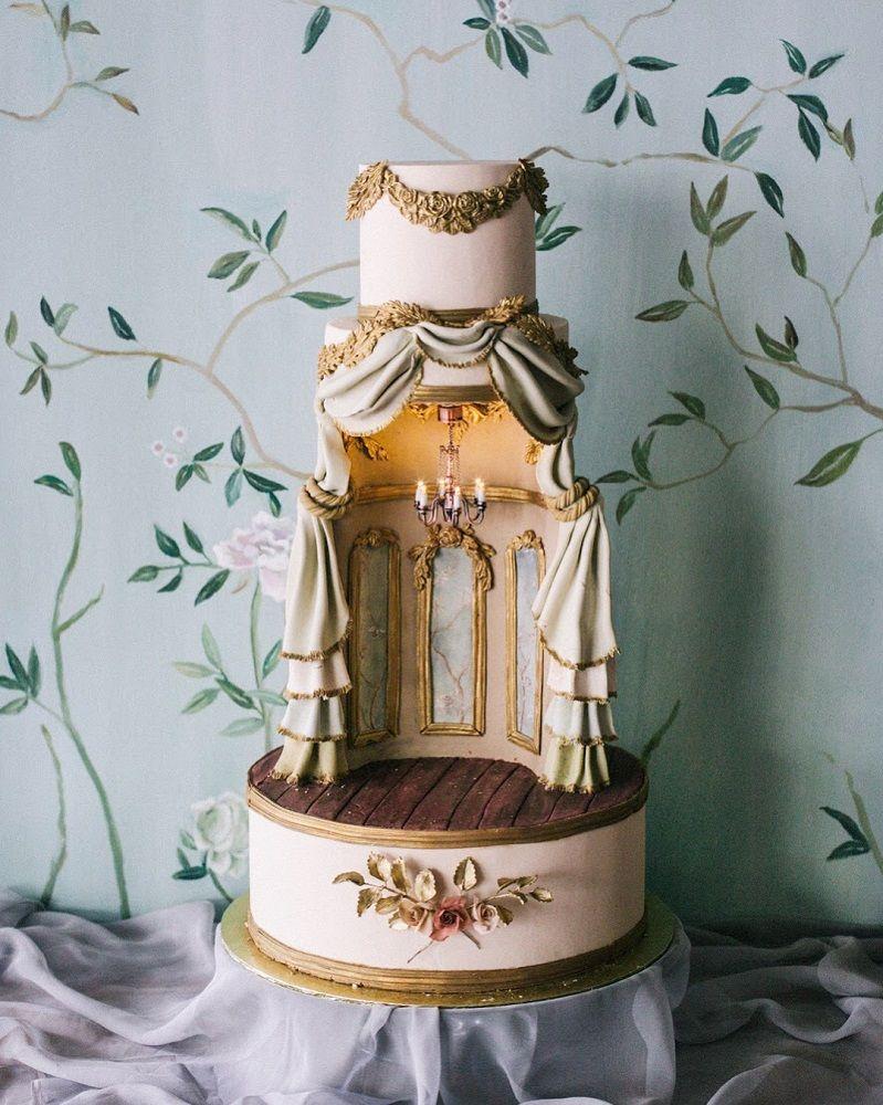 37 Eye-Catching Unique Wedding Cakes - Theatre design wedding cake #weddingcake #weddingcakes