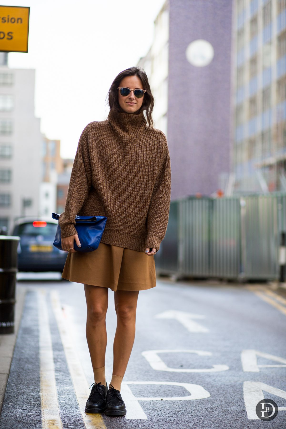 Just right: caramel-hue, medium knit, roll neck, oversized jumper ...