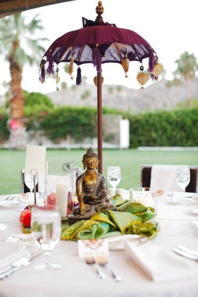 Gorgeous table setting with a buddha centerpiece and an umbrella gorgeous table setting with a buddha centerpiece and an umbrella junglespirit Gallery