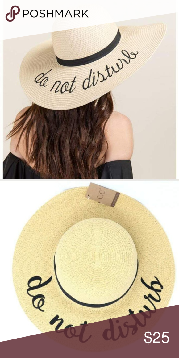 23318344 C.C. Do Not Disturb straw hat C.C Women's Paper Weaved Embroidered Sun hat  Travel-ready sun hat with embroidered message One size fits most, ...