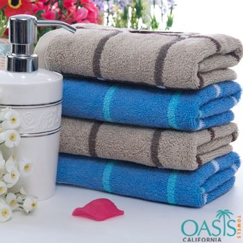 Bath Towels In Bulk Set Of Blue And Brown Stripe Bath Towels  Bath Towels Wholesale