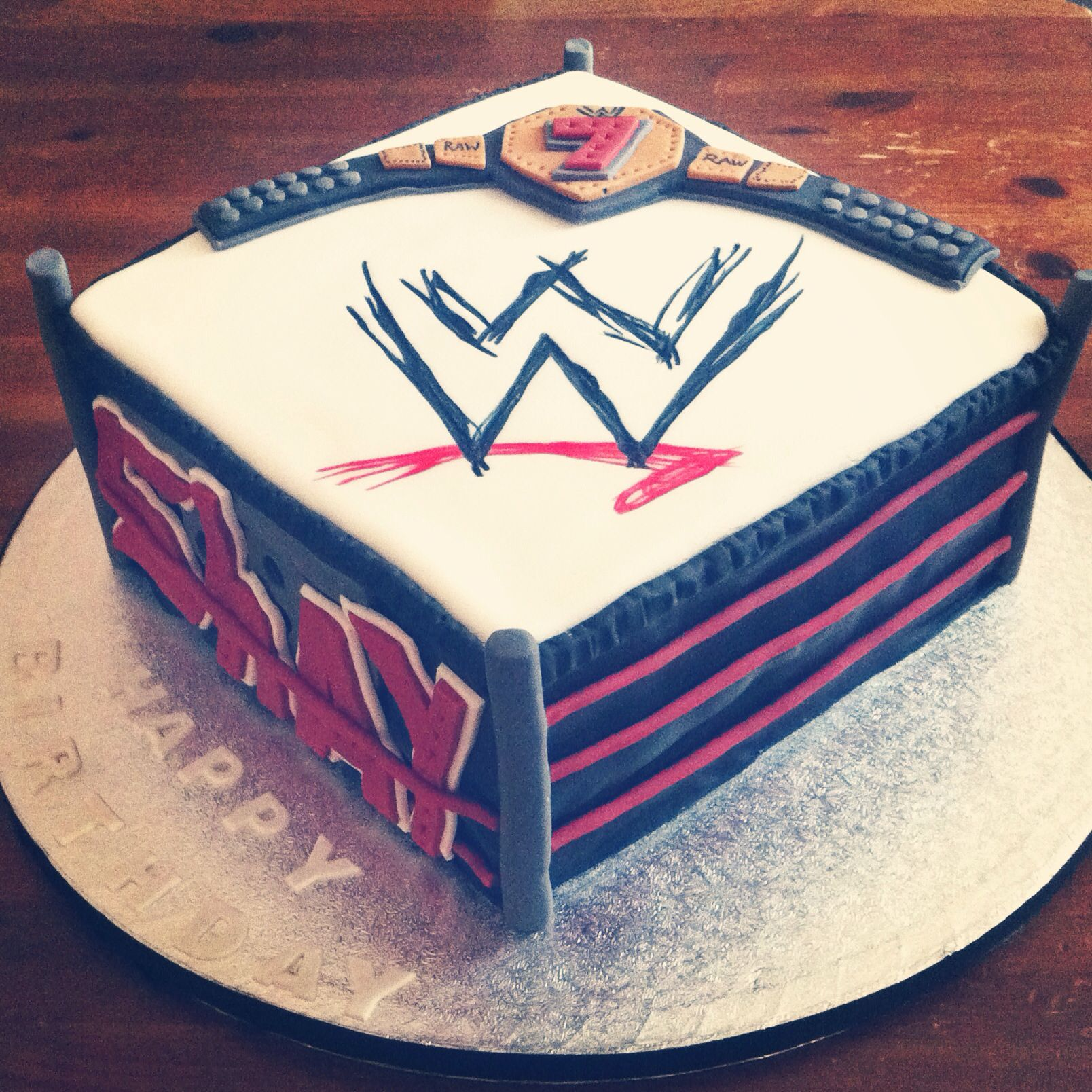 Wwf Wrestling Ring Cake With Belt Nai Nai Nais Cake Creations